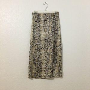 BB Dakota Brown Tan Snake Print Midi Skirt